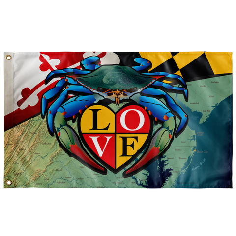 "Maryland Blue Crab ""Love"", Large Flag, 60 x 36"" with 2 grommets"