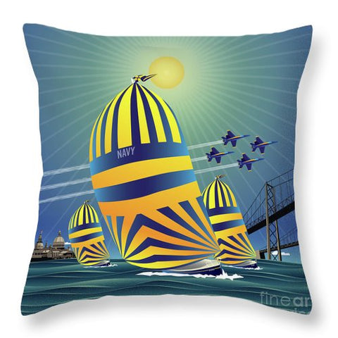 Naval Academy High Noon Sails - Throw Pillow