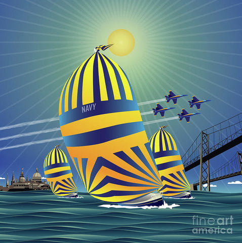 Naval Academy High Noon Sails - Art Print