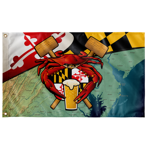 "Maryland Crab Feast Crest, Large Flag, 60 x 36"" with 2 grommets"