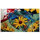 "Maryland Blue Crab Black-Eyed Susan, Large Flag, 60 x 36"" with 2 grommets"