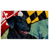 "Maryland Black Lab, Large Flag, 60 x 36"" with 2 grommets"