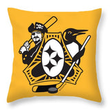 Pittsburgh Three Rivers Roar Sports Fan Crest - Throw Pillow square