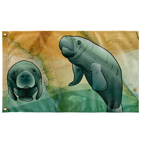 "Coastal Florida Manatee, Large Flag, 60 x 36"" with 2 grommets"