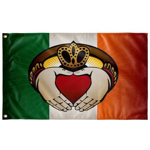 "Irish Claddagh, Large Flag, 60 x 36"" with 2 grommets"