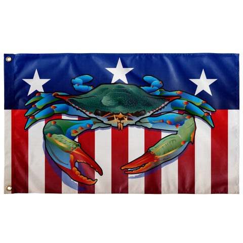 "USA Blue Crab, Large Flag, 60 x 36"" with 2 grommet"