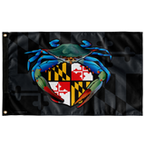 "Blue Crab Maryland Crest, Large Flag, 60 x 36"" with 2 grommets"