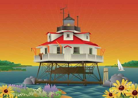 Thomas Point Shoal Lighthouse - Art Print by Joe Barsin