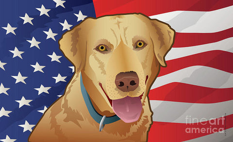 USA Yellow Lab - Art Print