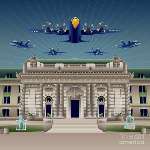USNA Bancroft Hall Blue Angels Show - Art Print