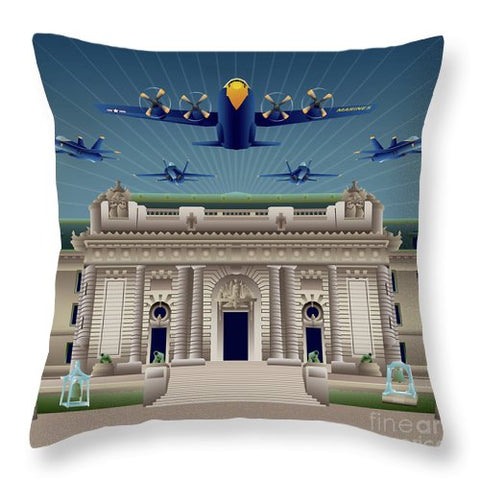 USNA Bancroft Hall Blue Angels Show - Throw Pillow