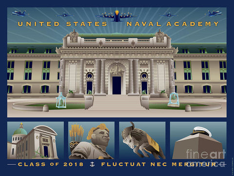 USNA Class of 2018 Monuments - Art Print