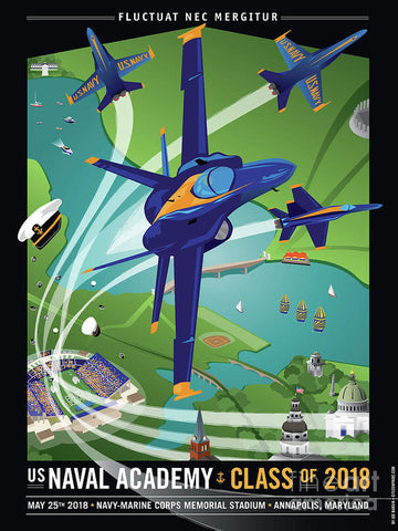 USNA Class of 2018 with Blue Angels - Art Print