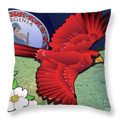 Virginia Cardinal In Flight With Dogwood Flowers - Throw Pillow