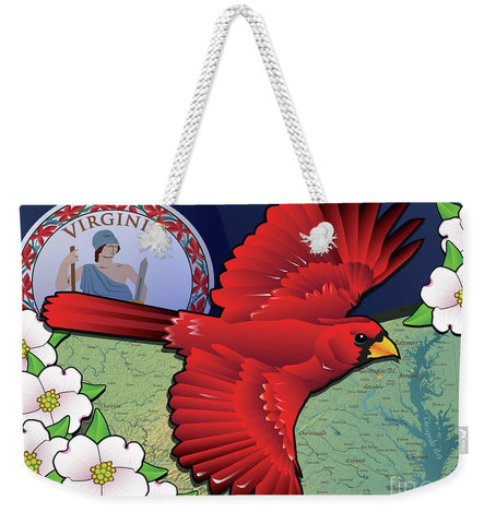 Virginia Cardinal In Flight With Dogwood Flowers - Weekender Tote Bag