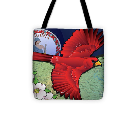 Virginia Cardinal In Flight With Dogwood Flowers - Tote Bag