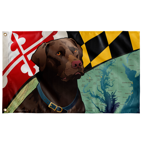 "Maryland Chocolate Lab, Large Flag, 60 x 36"" with 2 grommets"