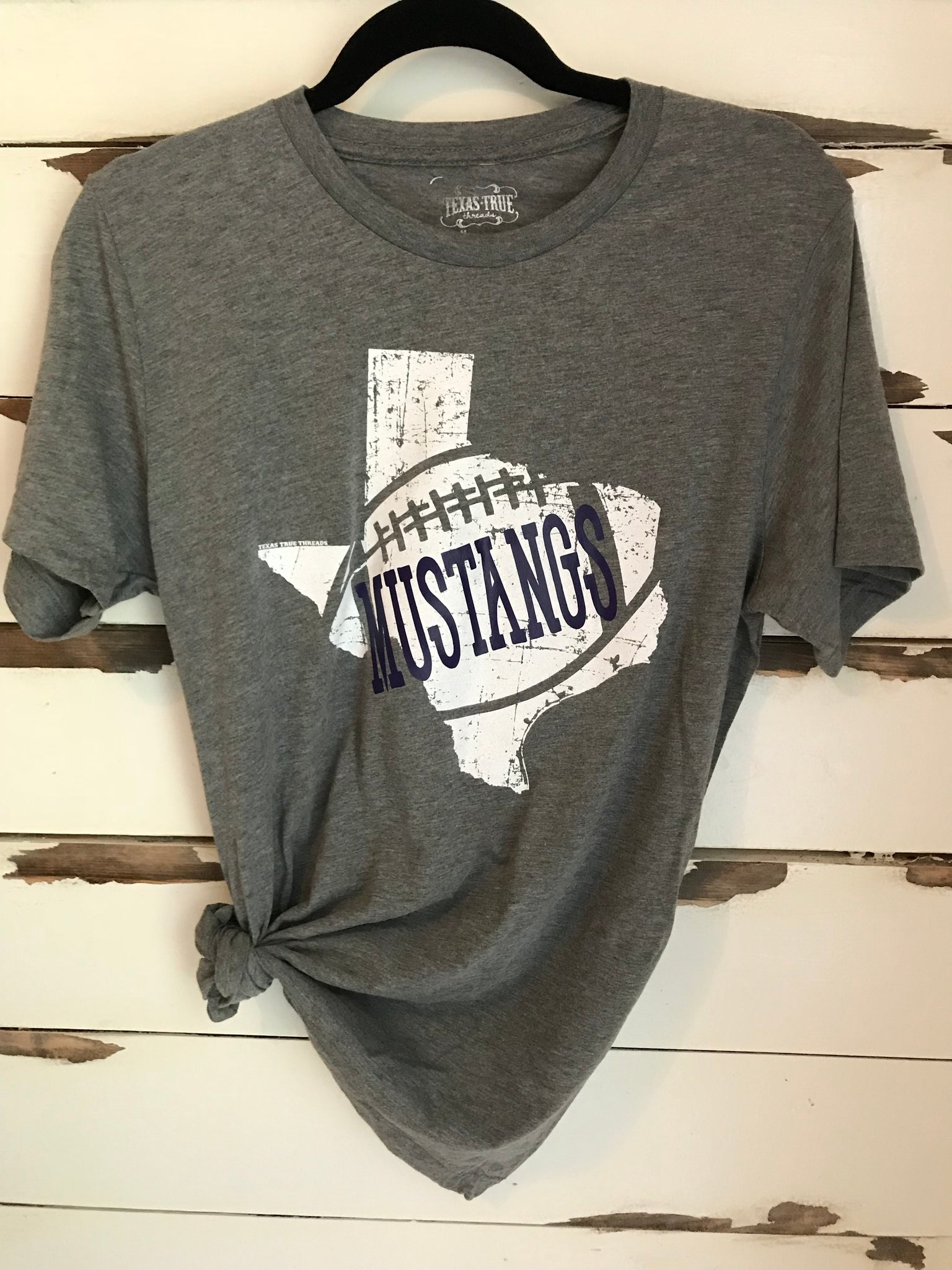 965ac07da1 Mustang Football T-shirt in Solid Purple Letters – Birdwell s Boutique