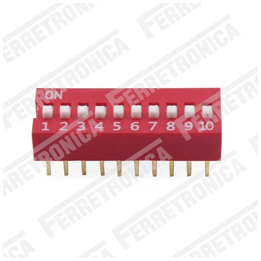 DIP Switch 10P Interruptor de 10 Posiciones - 2.54 mm, Ferretrónica