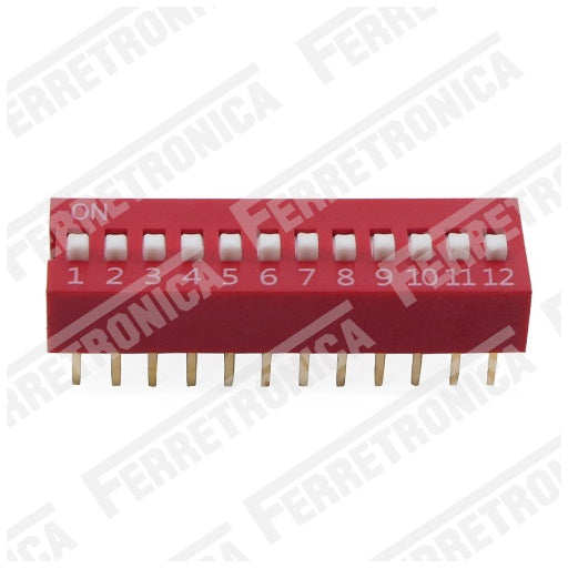 DIP Switch 12P Interruptor de 12 Posiciones - 2.54 mm, Ferretrónica