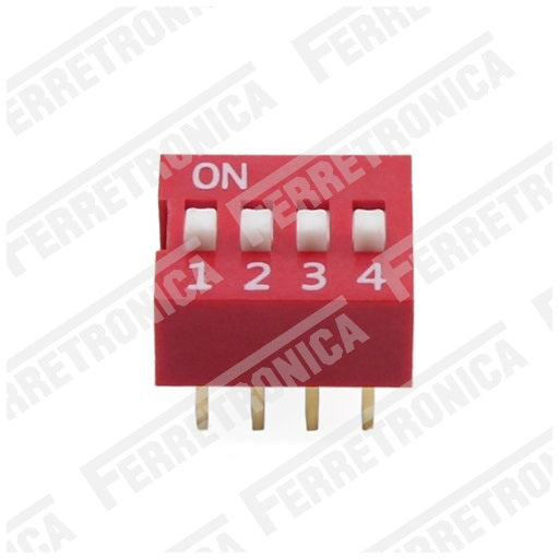 DIP Switch 4P Interruptor de 4 Posiciones - 2.54 mm, Ferretrónica