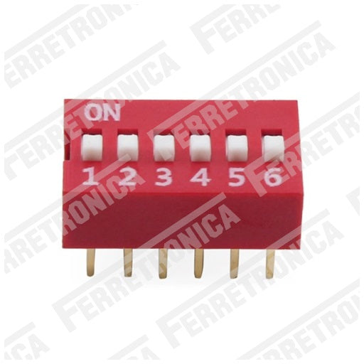 DIP Switch 6P Interruptor de 6 Posiciones - 2.54 mm, Ferretrónica