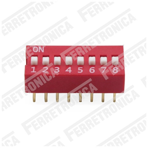 DIP Switch 8P Interruptor de 8 Posiciones - 2.54 mm, Ferretrónica