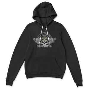 Peace Through Strength Hooded Sweatshirt SunFrog-LeatherBackGear Black S