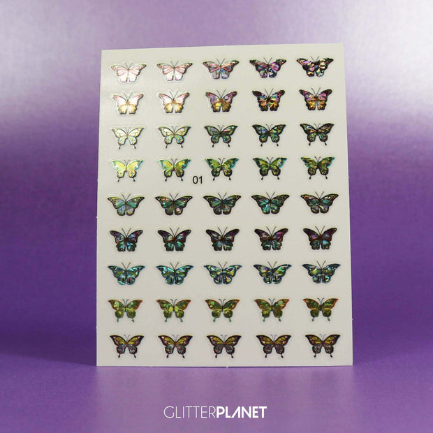 01 Holographic Butterfly Nail Art Stickers