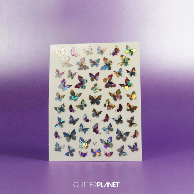 04 Purple Holographic Butterfly Nail Art Stickers