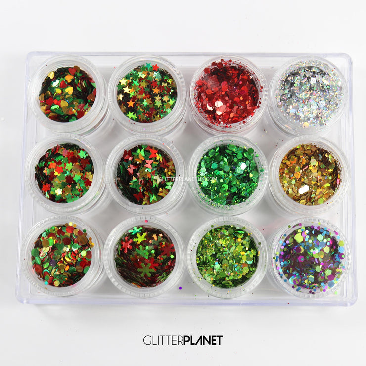 Christmas 12 pcs assorted Glitter Set