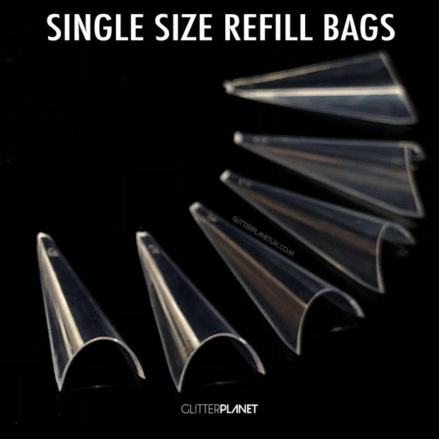 Refill Clear Pre Pinched Stiletto Nail Tips