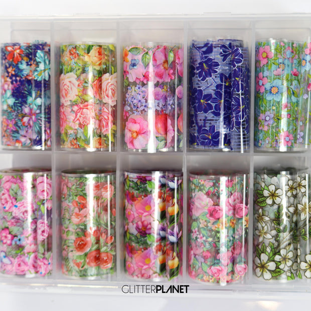Floral Nail Art Foil Set 10pcs - SET 2