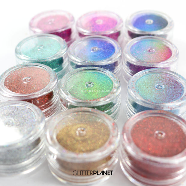 Fine Holographic 12 pcs assorted Glitter Set