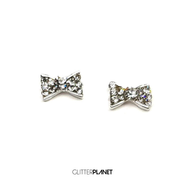 Nail Jewel - Crystal Clear Straight Alloy Bow