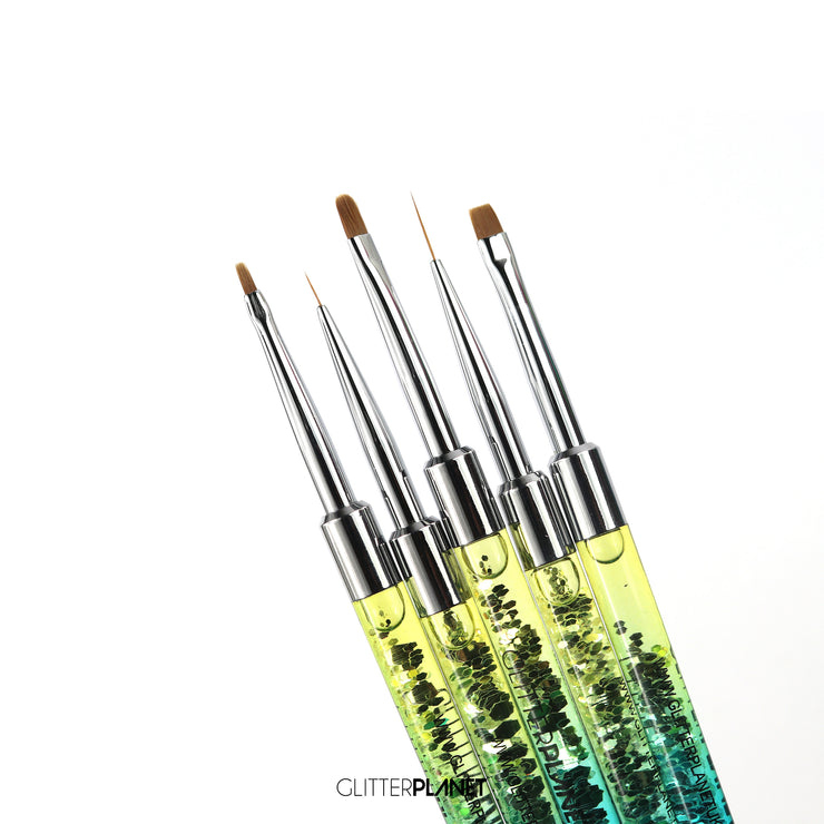 5pcs Nail Art Brush Set - Rainbow Aqua