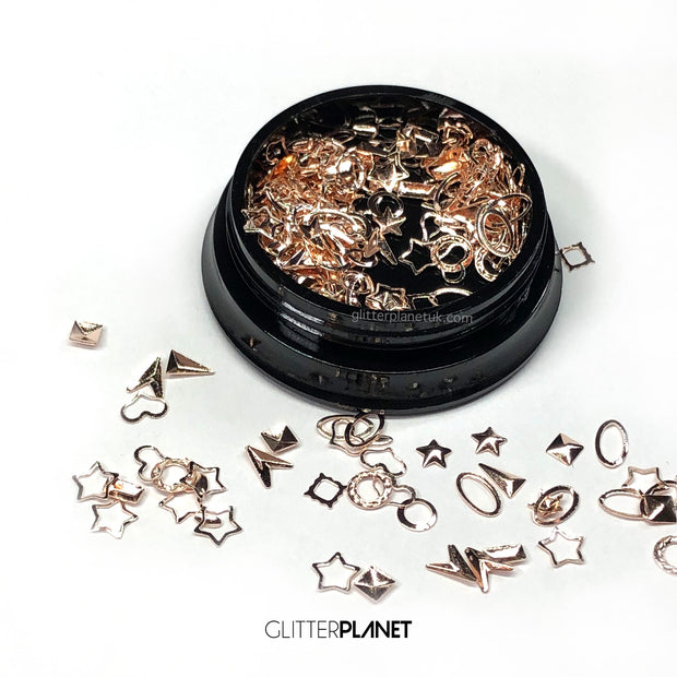 Rosegold Frames + Studs Mixed Nail Art Jar