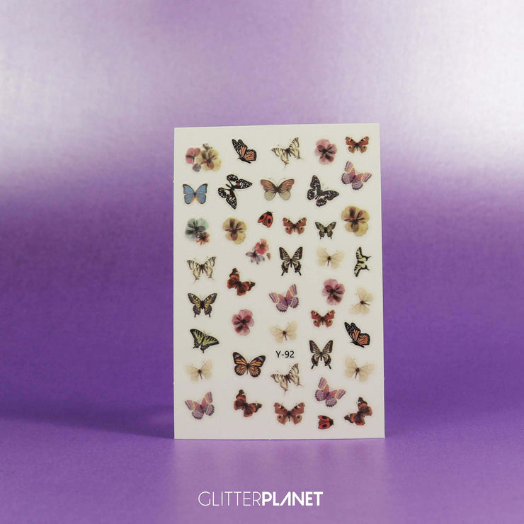 Y-92  Multi Neutral Butterfly Nail Art Stickers