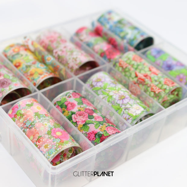 Floral Nail Art Foil Set 10pcs - set 1