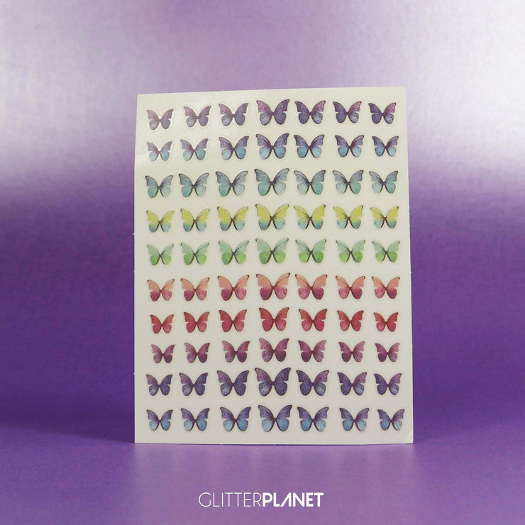 Ombre Rainbow Butterfly Nail Art Sticker