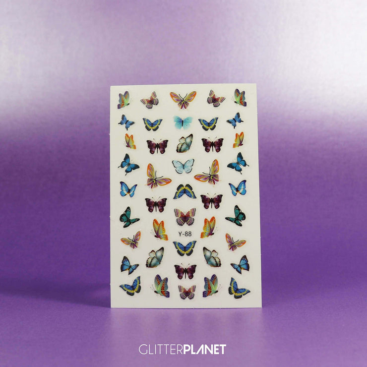 Y-88 Multi Blue & Yellow Butterfly Nail Art Stickers