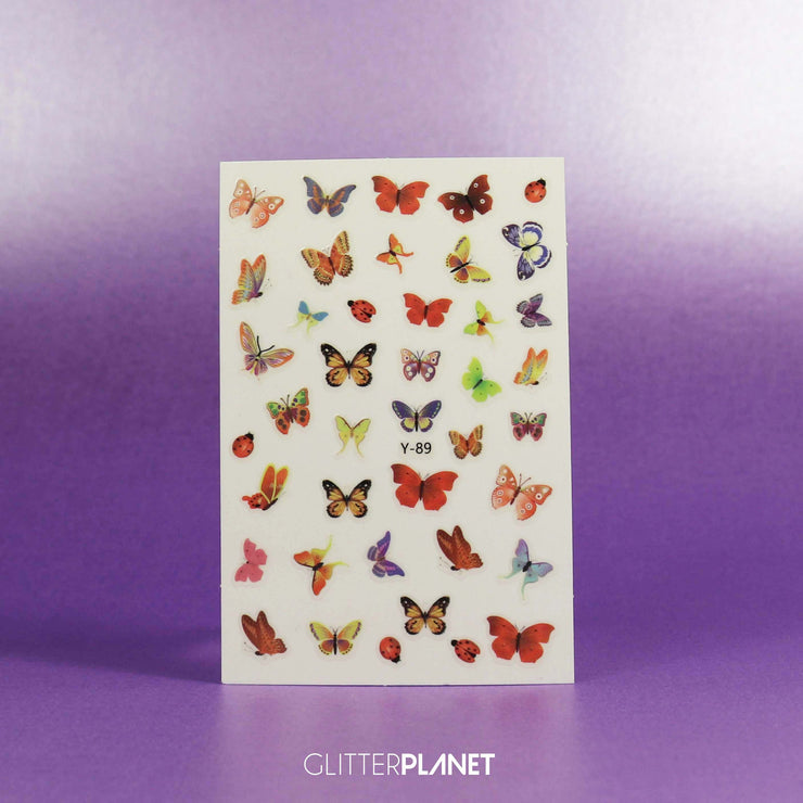 Y-89 Multi Red & Green Butterfly Nail Art Stickers