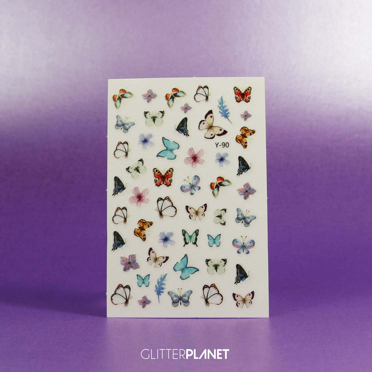 Y-90 Soft Multi White & Blue Butterfly Nail Art Stickers