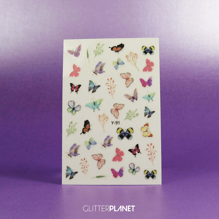 Y-91 Soft Multi Butterfly Nail Art Stickers