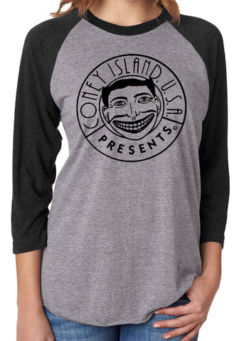 T-Shirt - CIUSA Raglan Heather Grey+Black - Unisex