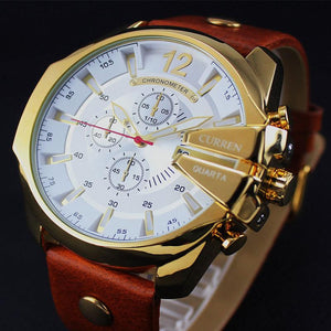 Curren Luxury Quartz Stainless Steel Watch With Leather Strap-Vici Tempus