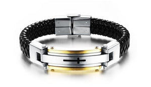Stainnless Steel Vintage Leather Cross Bracelet - Limited Edition - Vici Tempus