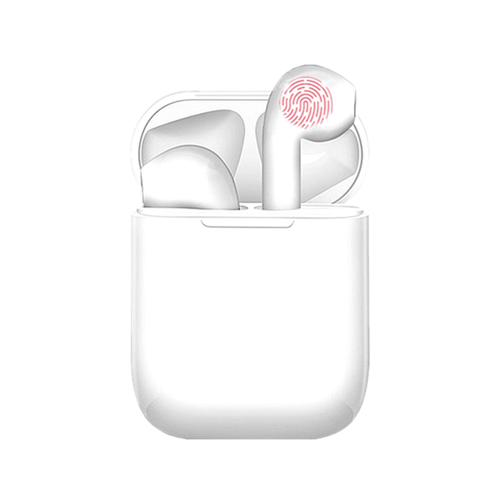 Casti wireless TWS I12, earbuds, bluetooth 5.0, super bass, Handsfree, plus cutie incarcare, Alb
