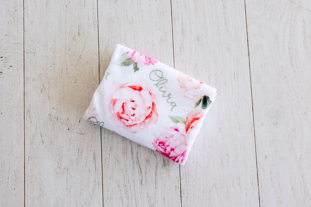 Plush Minky Personalized Blanket - Peach Peony Blooms - Sugar House Baby