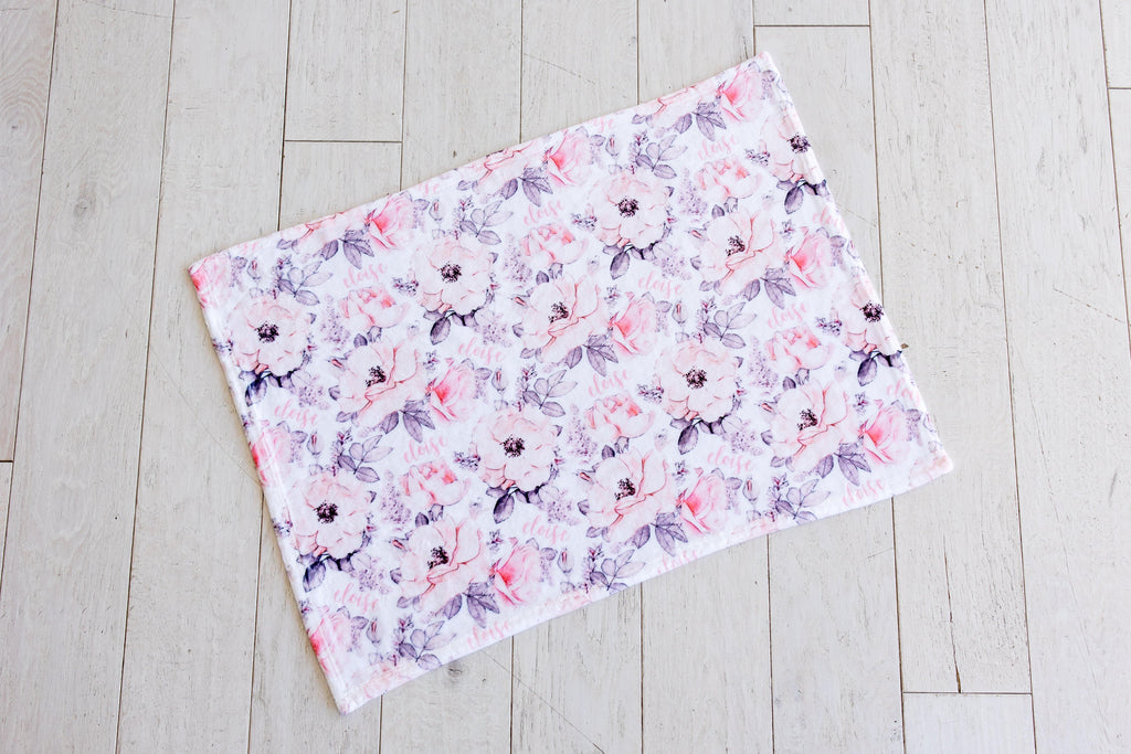 Plush Minky Personalized Blanket - Wallpaper Floral